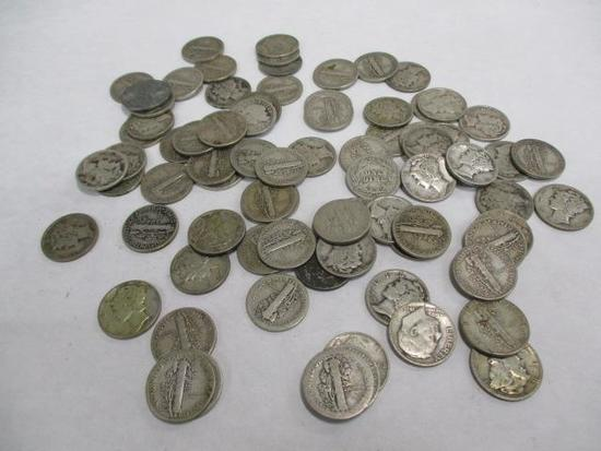 Grouping of 78 U.S. Silver Dimes including Barber
