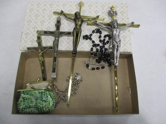 Grouping of 4 Metal Crucifixes, 1 Plastic Beaded