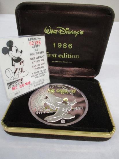1987 First Edition Walt Disney 5 Troy OZ .999