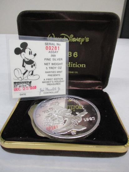 1988 First Edition Walt Disney 5 Troy OZ .999