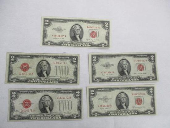 5 Red Seal Two Dollar Bills: Series 1928 F, Series
