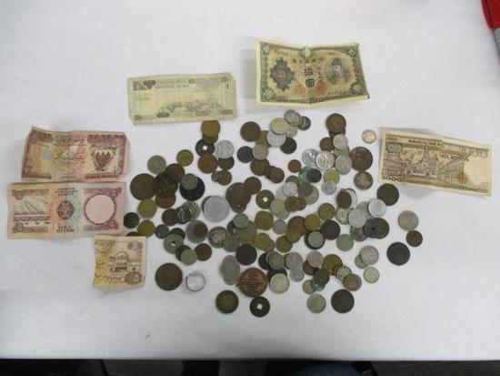 Grouping of Misc. Foreign Bills and Coins, and