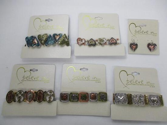 (6pc) Inspirational Bracelets & Earrings