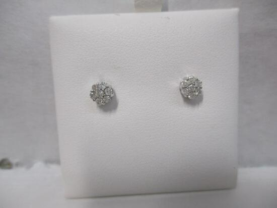 14k WG 7 Diamond Stud Earrings