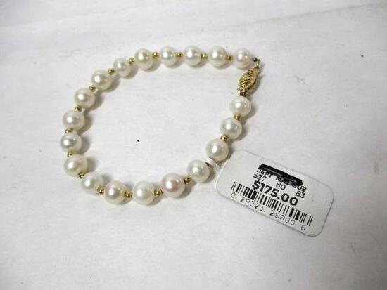 "10k YG 7.5"" Cultured Pearl Bracelet"