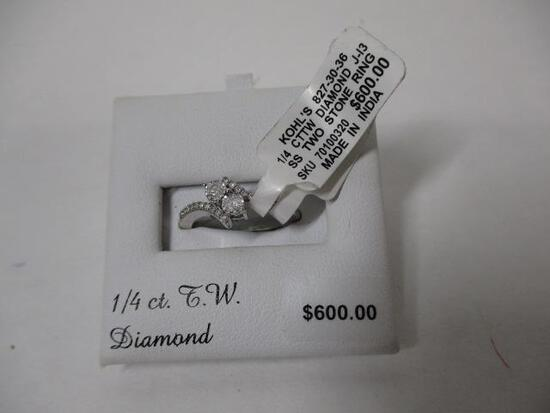 Sterling Silver 1/4cttw Diamond Ring