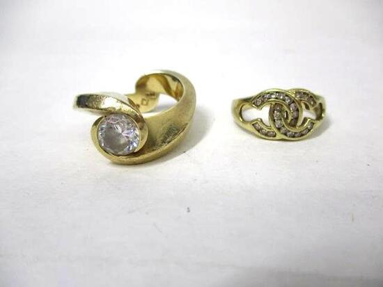 (2pc) 14K YG Rings W/Clear Stones