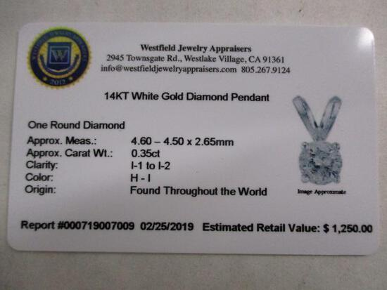 14k WG Diamond Pendant w/Chain