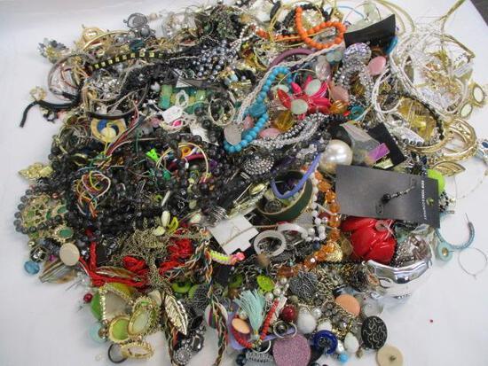 Glass Jar of Costume Jewelry