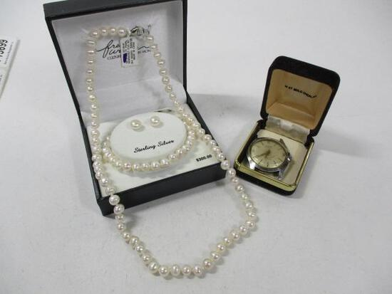 (2pc) 3pc Pearl set and Crosby Watch Face