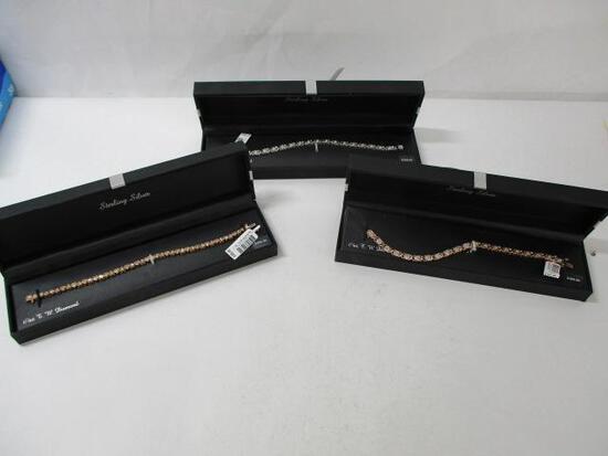 (3pc) Tennis Bracelets (Plated) W/Diamonds