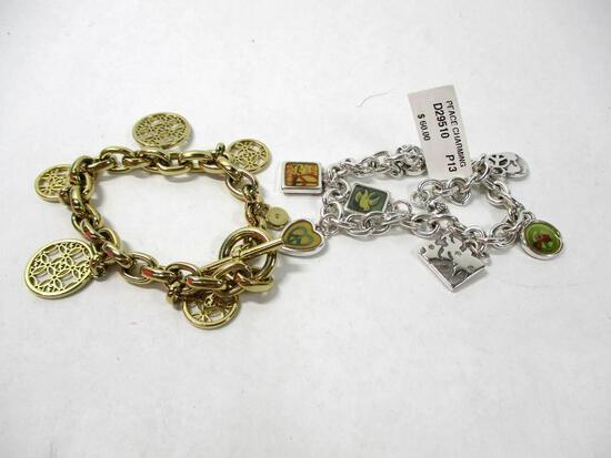 (2) Bracelets including Silver Pearl Charm and Gold Charm