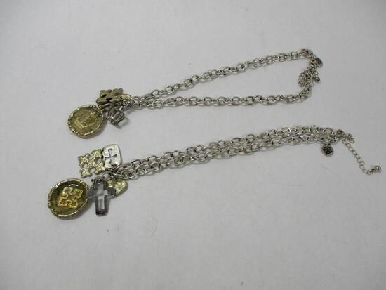 (2) Silver Necklaces with Cross/Hearts