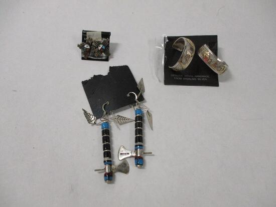 3 Pairs South West Sterling Silver Earings