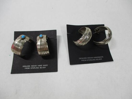 South West Sterling Silver Hoop Earings and Hoop with Tuquiose Stone