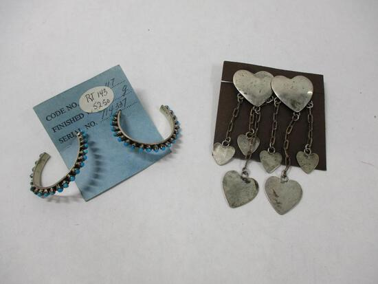 2-pair Silver South West Earing Hearts/Turquiose Hoops