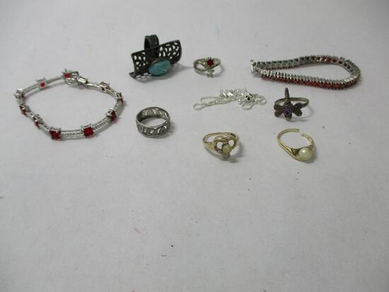 Sterling Silver Jewelry 63.1gtw & 10K Rings 4.6gtw