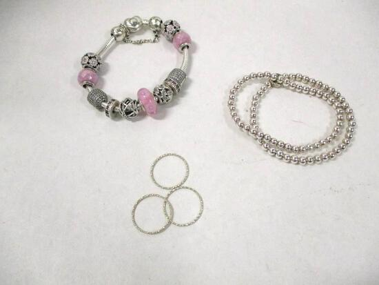 (6pc) 925 Silver Jewerly Pieces 3-Bracelets 3-Rings 57.9gtw