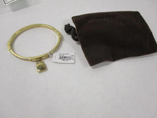 Michael Kors Gold Clear Stone and Pad Lock Bracelet