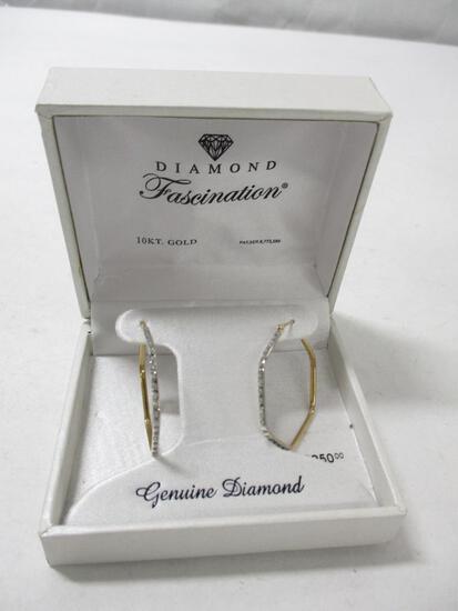 10k & Diamond Hoop Earrings