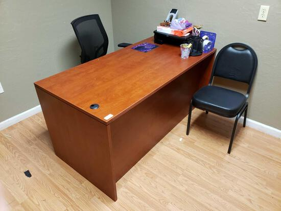 3-drawer Office Desk, Bookcase and Desk Chair