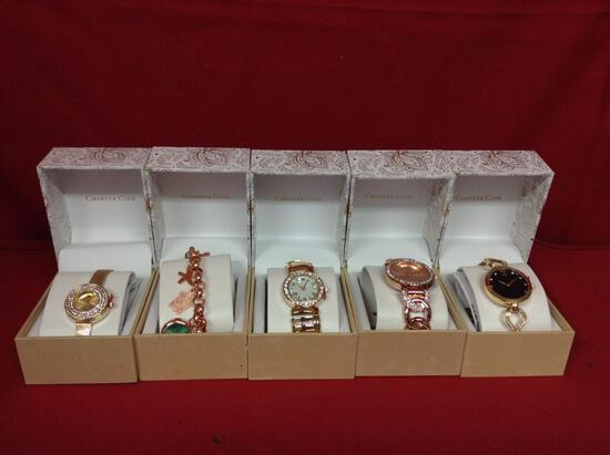 (5 qyt) Watches in boxes (with clear stones) (gold in color) (unauthenticated)
