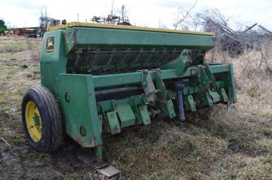 JD 1550 3 pt. 8 Interseeder w/ grass seed attachment