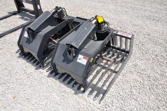Stout HD72-3 rock/brush hyd. grapple skid loader attachment