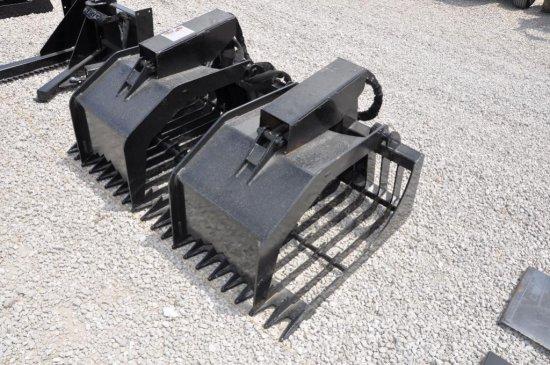 "Hawz 68"" rock/brush hyd. grapple skid loader attachment"