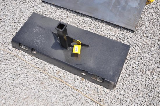 Hawz skid loader plate w/ receiver hitch