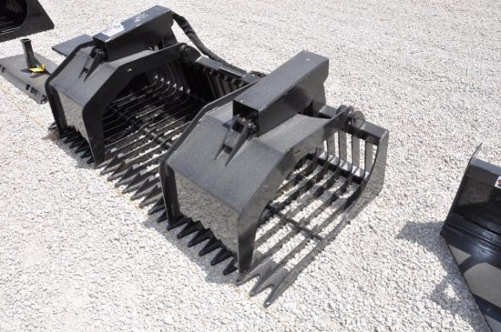 "Hawz 84"" rock/brush hyd. grapple skid loader attachment"