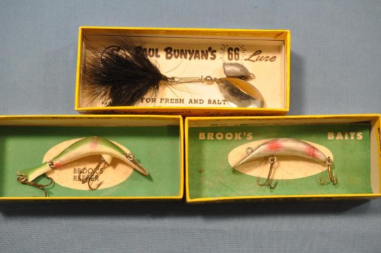 (3) Lures to include Brook's Baits & Paul Bunyan w/boxes