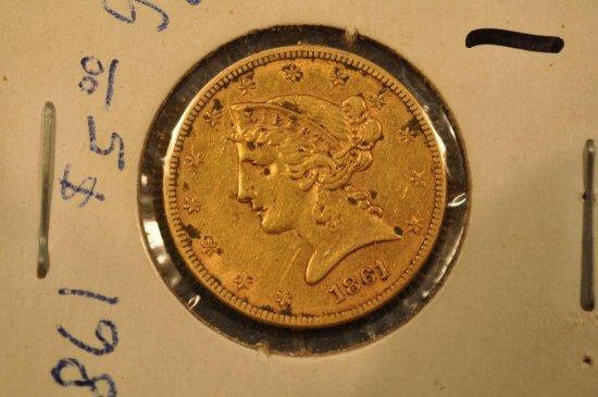 1861 $5 gold Liberty Head Half Eagle Gold Coin