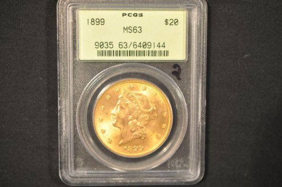 1899 PCGS Graded MS63 $20 gold coin