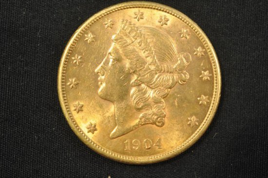 1904-S Double Eagle Liberty Head $20 gold coin