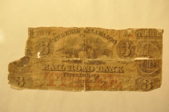 The Erie Kalamazoo Three Dollar Railroad Bank Note