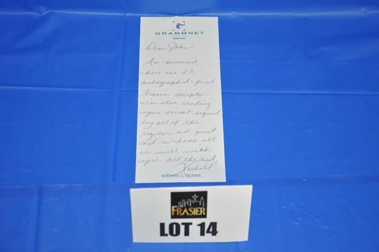 Handwritten note to John from Xochitl L. Olivas