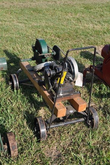 Maytag twin-cylinder engine w/stone wheel grinder mounted on steel wheel truck