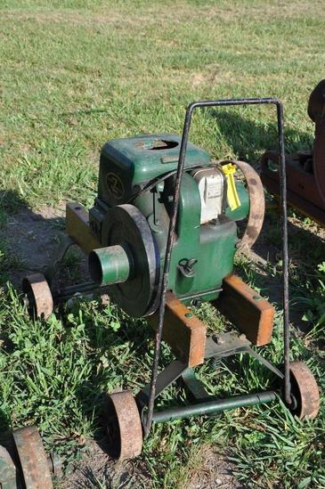 Fairbanks Morse Z 2 HP engine mounted on steel wheel truck