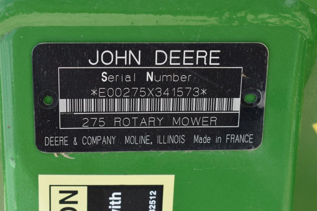 Lot: '09 JD 275 3-pt  disc mower | Proxibid Auctions