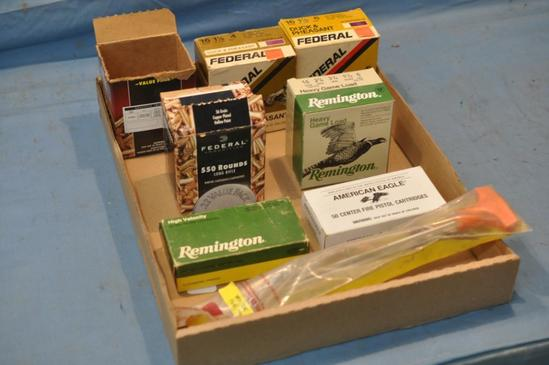 LOT BOX OF AMMO TO INCLUDE PARTIAL BOXES OF 9MM, .22 LR, 16 GAUGE SHELLS, AND .32 S&W