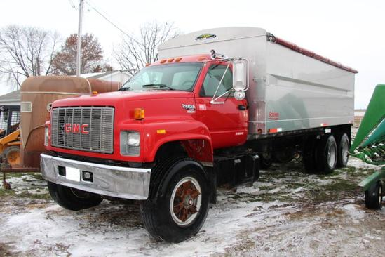 1994 GMC Top Kick tandem axle grain truck