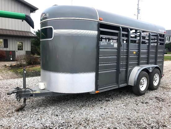 1995 Kiefer Built Stockmaster Deluxe 6' x 16' tandem axle bumper hitch livestock trailer