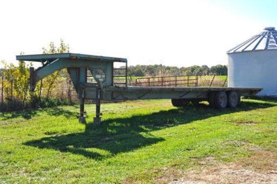 "Stoll 32"" gooseneck flatbed trailer"