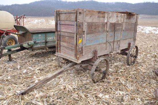 Vintage barge wagon on wooden running gear w/steel wheels