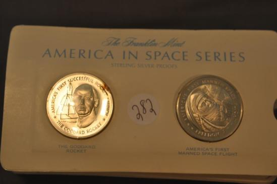 (22) FRANKLIN MINT AMERICA IN SPACE STERLING PROOFS