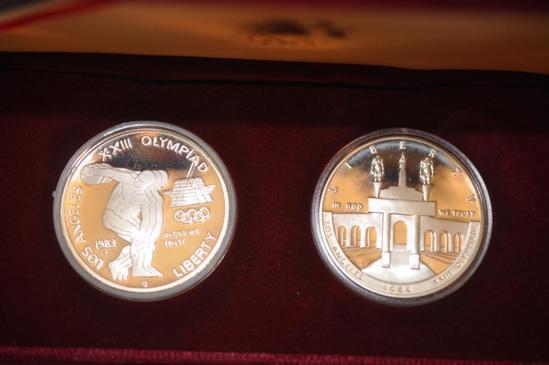1984 OLYMPICS 2-PIECE SILVER DOLLAR SET