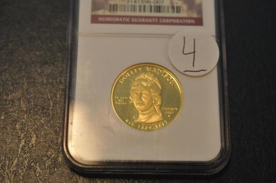 DOLLEY MADISON 2007 PF 69 ULTRA CAMEO GOLD