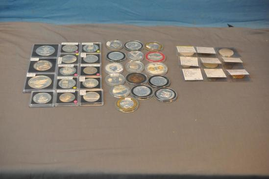 LARGE COLLECTION OF SILVER ROUNDS, TOKENS & OTHER NON-SILVER ITEMS