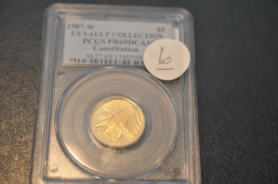 1987-W PCGS PR69 DCAM CONSTITUTION GOLD